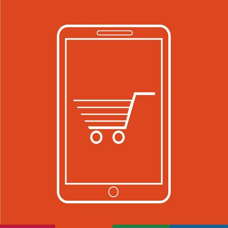 e pay: Thin Line Mobile Shopping Icon