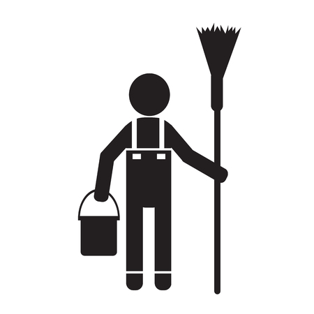 vacuuming: Cleaner Man and Cleaning Tool Equipment Illustration design