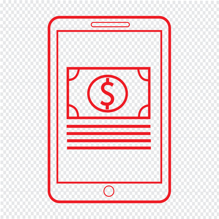 e pay: Thin Line Mobile Payment Icon Illustration design