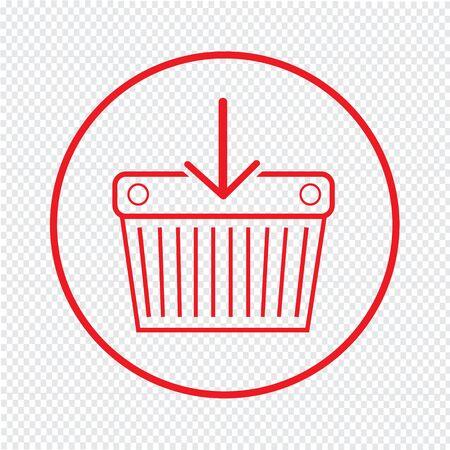 e market: Thin Line Shopping Basket Icon Illustration design
