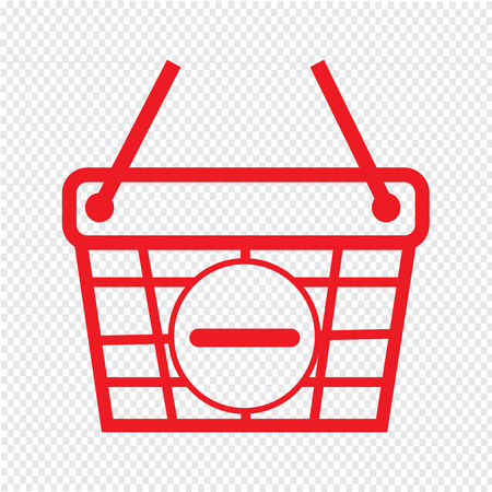 on line shopping: Thin Line Shopping Basket Icon Illustration design