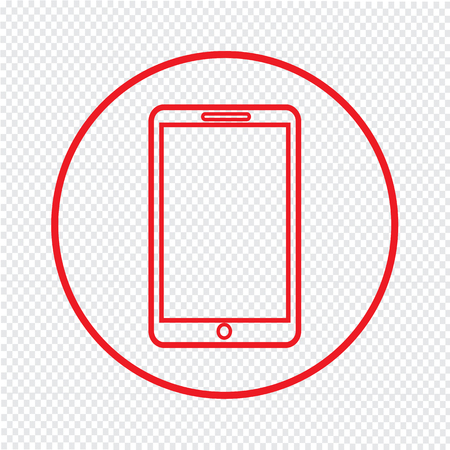 mobile phone icon: Thin Line Mobile Phone Icon Illustration design