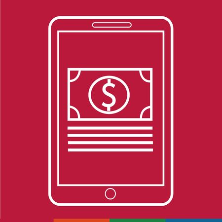 e commerce icon: Thin Line Mobile Payment Icon Illustration design
