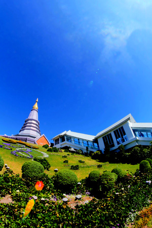 phon: pagodas Noppamethanedol & Noppapol Phumsiri in Doi Inthanon National Park ,chiangmai ,thailand