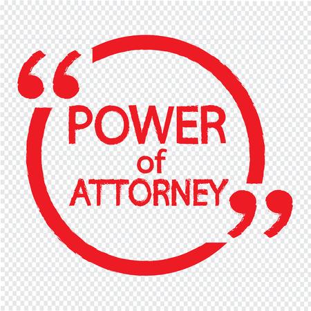 abogado: Poder de abogado diseño de letras Ilustración