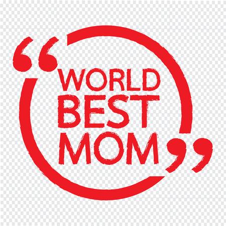 世界上最好的妈妈刻字插图设计