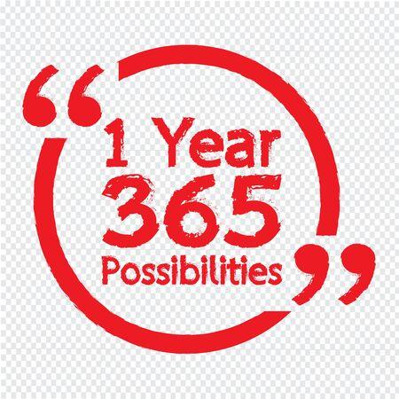 1 Jahr 365 Möglichkeiten Beschriftung Illustration Design