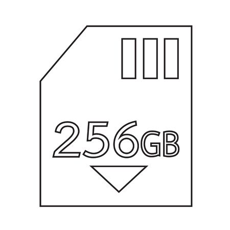 gb: Memory Card 256 Gb icon Illustration design Illustration
