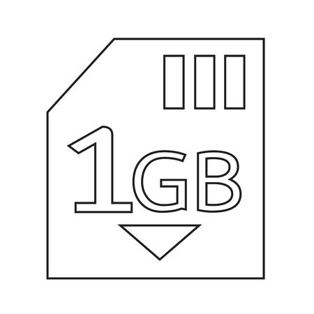 gb: Memory Card 1 Gb icon Illustration design