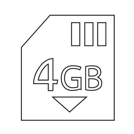 gb: Memory Card 4 Gb icon Illustration design Illustration
