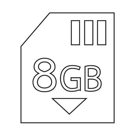 gb: Memory Card 8 Gb icon Illustration design