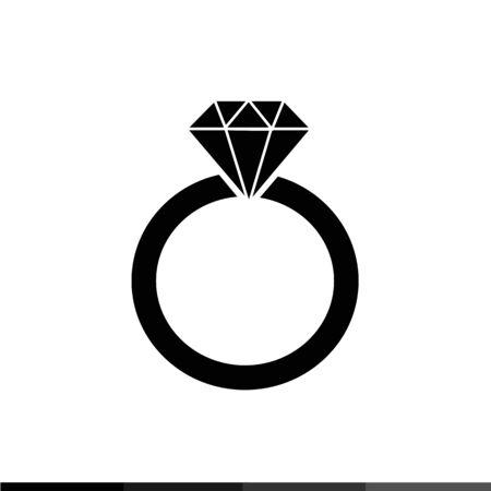 anneau de diamant conception icône Illustration Vecteurs
