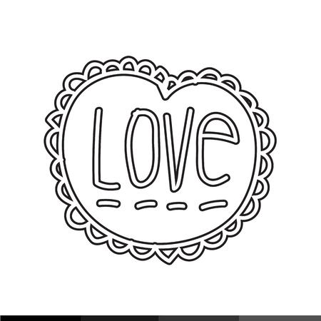 woodcutting: Love Text icon illustration design
