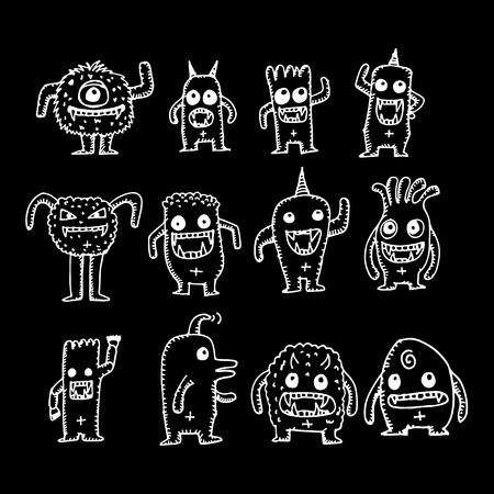 cartoon cute monsters illustration design 矢量图像
