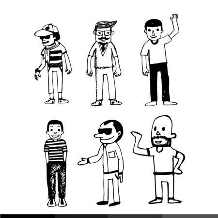 black people: people draw line black white illustration design