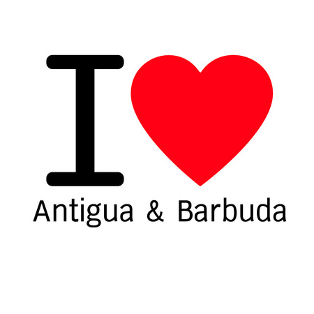 antigua barbuda: i love Antigua & Barbuda lettering illustration design with sign