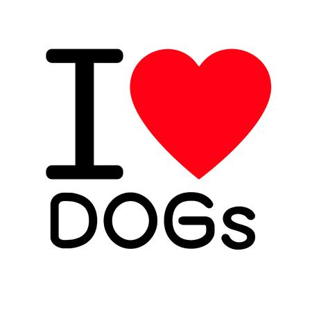 Io amo i cani lettering design illustrazione con il segno