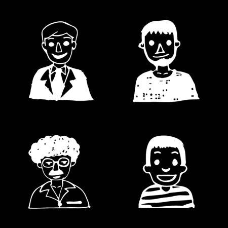 black and white: people draw line black white illustration design