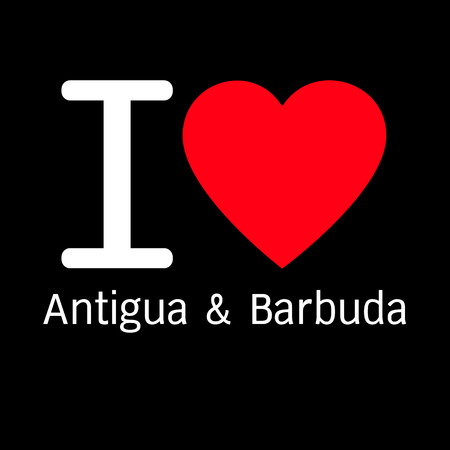 antigua: i love Antigua & Barbuda lettering illustration design with sign