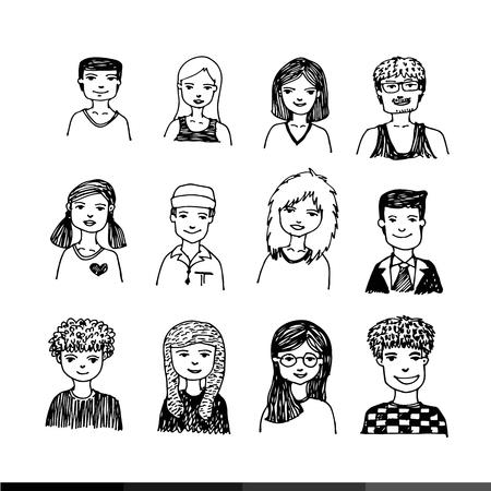 simbolo uomo donna: La gente faccia del fumetto di design Illustrazione Vettoriali