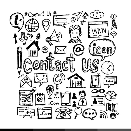 contact icon: Hand Draw Contact Us Icon Illustration design