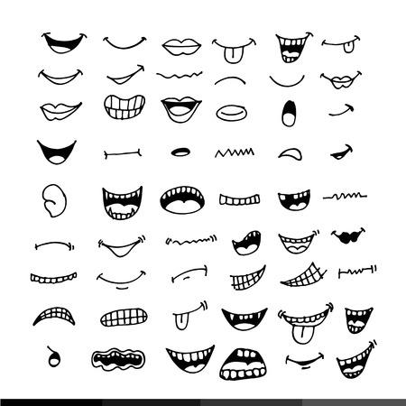 caricatura: la boca de dibujos animados de diseño de icono de ilustración Vectores