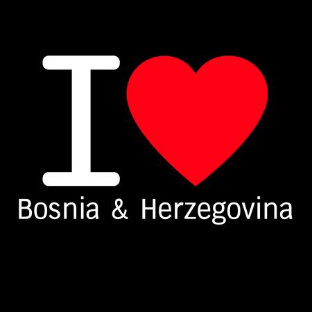 herzegovina: i love Bosnia & Herzegovina lettering illustration design with heart sign