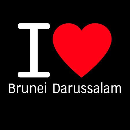 brunei darussalam: i love Brunei Darussalam lettering illustration design with heart sign Illustration