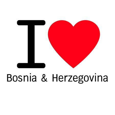 bosnia and  herzegovina: i love Bosnia & Herzegovina lettering illustration design with heart sign