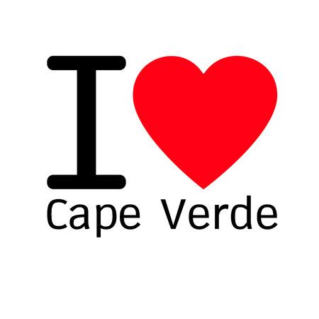 cape: i love Cape Verde lettering illustration design with heart sign