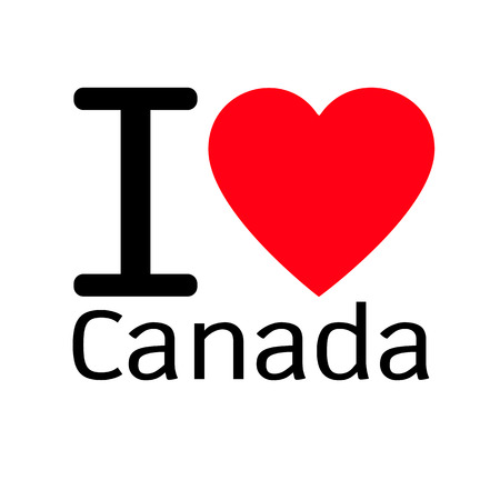 i love canada: i love Canada lettering illustration design with heart sign