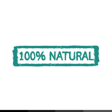 100% Natural ingredients stamp Illustration design