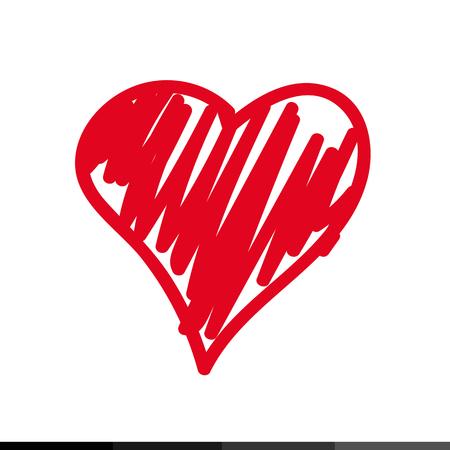Icono del corazón de bocetos de diseño, ilustración