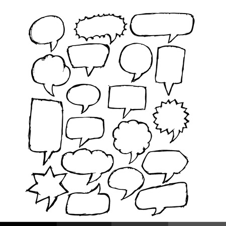 says: Freehand drawing speech bubble Illustration design