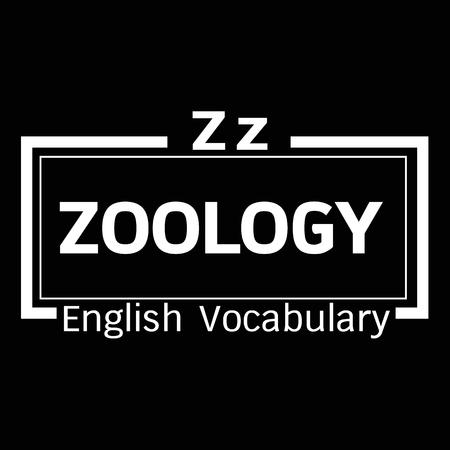 zoology: ZOOLOGY english word vocabulary illustration design