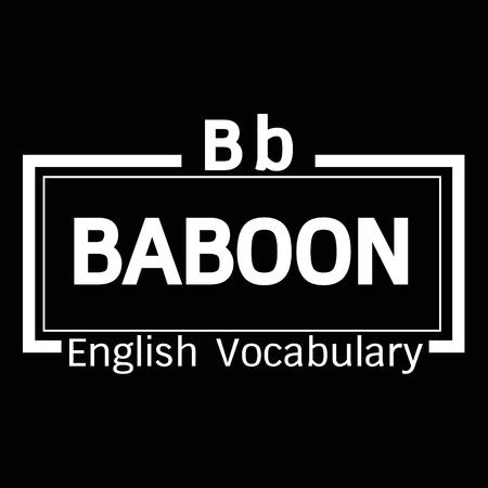 baboon: BABOON english word vocabulary illustration design
