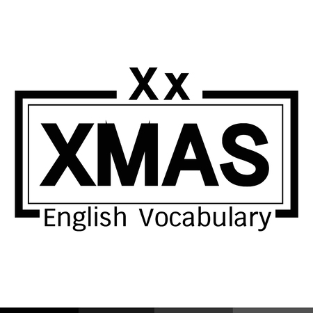 vocabulary: XMAS english word vocabulary illustration design
