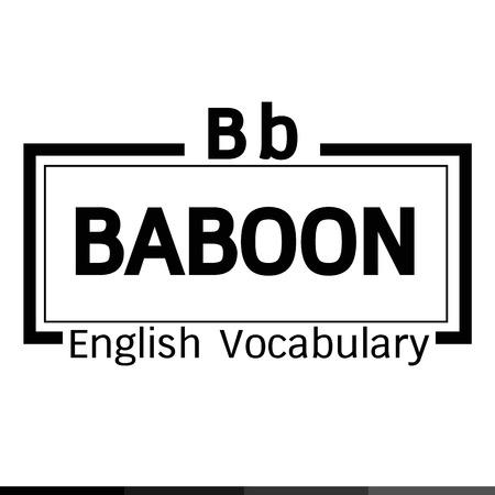 vocabulary: BABOON english word vocabulary illustration design