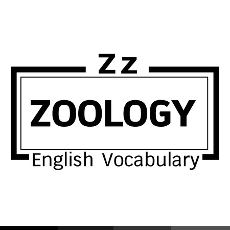 zoology: ZOOLOGY english word vocabulary illustration design