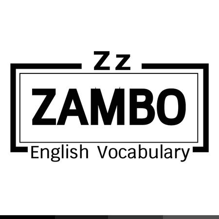 vocabulary: ZAMBO english word vocabulary illustration design