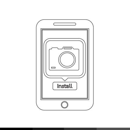 mobile application: icon of smart phone mobile camera photo application illustration design