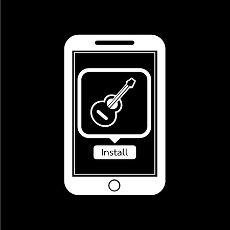 mobile application: icon of smart phone mobile music application illustration design