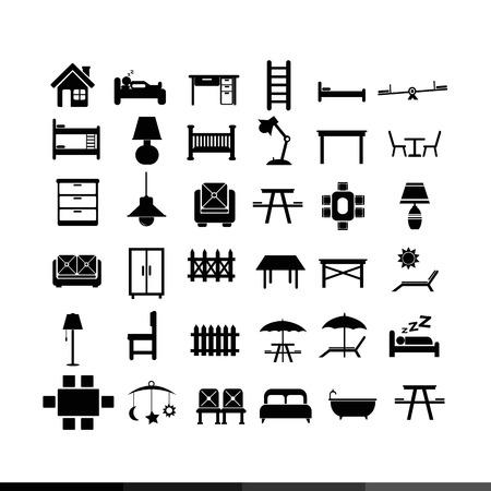 furniture design: Furniture icon illustration design Illustration