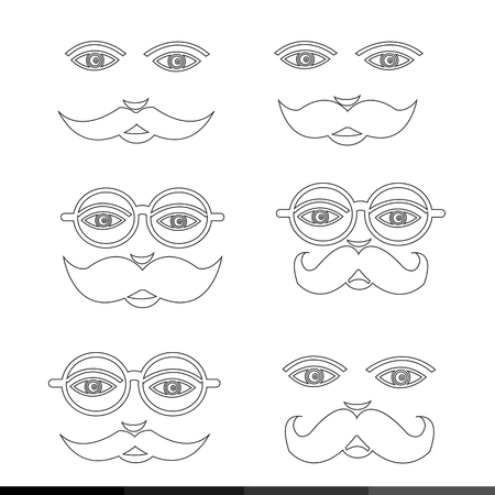 personages: Mustache Man emotion icon set illustration design Illustration