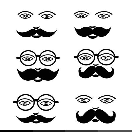 alluring: Mustache Man emotion icon set illustration design Illustration
