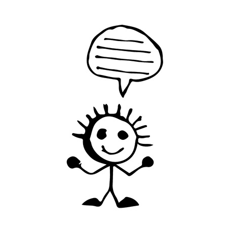 cartoon bubble: doodle people speech buble icon drawing illustration design Illustration
