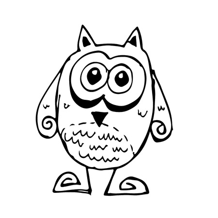 Doodle owl icon hand draw illustration design and drawing by Jaidee Family Style