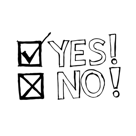 yes no: doodle yes no icon drawing illustration design Illustration