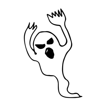 haunting: Doodle ghost icon hand draw illustration design Illustration