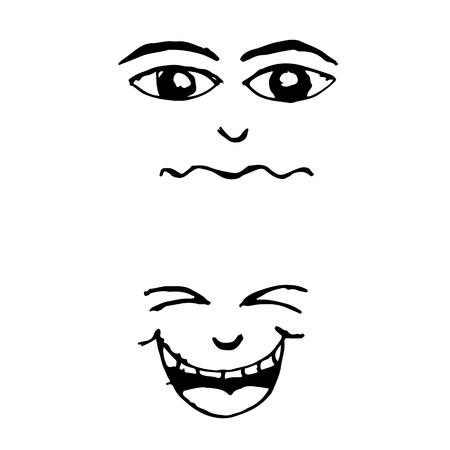 alluring: doodle emotion face icon hand draw illustration design